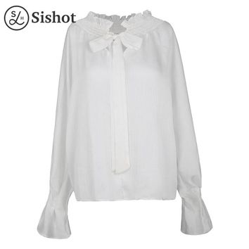 Women Shirts Autumn White Flare Sleeve Pleated Chiffon Ruffled Collar Straight Bow-knot Fall Casual Blouse