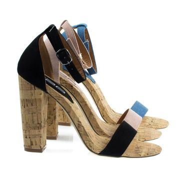 Fay6 Chunky Block Heel Sandal On Faux Cork Texture. Women's Party Shoes