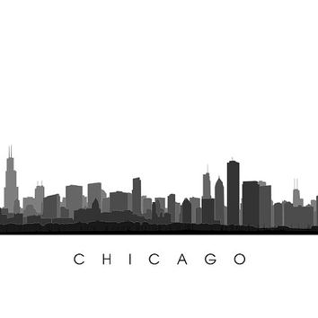 Chicago City Skyline - Illinois Poster Print - Cityscape, Silhouette, University of Chicago, Northwestern University, Loyola University