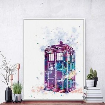 Original Watercolor Doctor Who A4 Poster Print London Telephone Booth  Picture Canvas Painting No Framed Gift