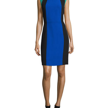 Tahari ASL Colorblock Sheath Dress, Blue/Black/Emerald