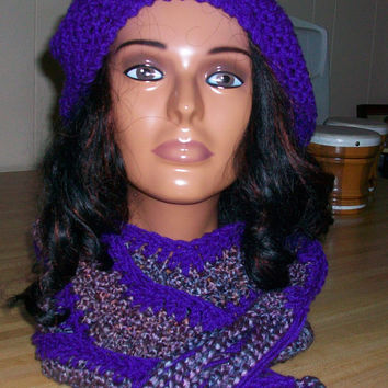 Multicolored Hat and Scarf Set; Handmade Crochet; Soft Yarn