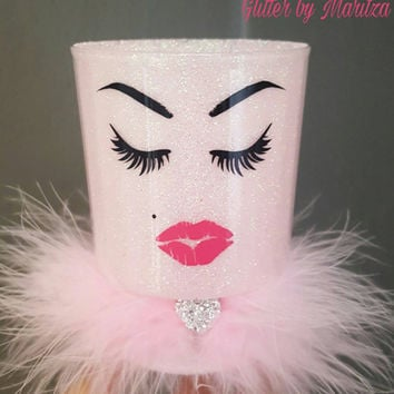 Light pink glitter makeup holder. Brushes. lipstick. lashes & lips. Feather trim. Vanity decor