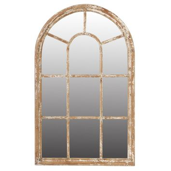 Arched Wooden Framed Mirror, Large, Brown By A and B Home
