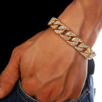 Hip Hop Bling high quality full diamond chain Cuban bracelet bracelet ring 18K gold plating.