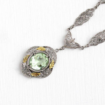 Art Deco Necklace - Vintage 1920s Simulated Peridot Glass Stone Pendant - Silver Tone Filigree Green Lavalier Statement 20s Costume Jewelry