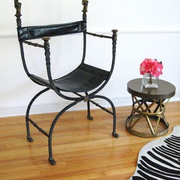 ANTIQUE Wrought IRON CAMPAIGN Throne Chair by fabulousmess on Etsy