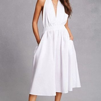 Monroe Moment White Midi Dress