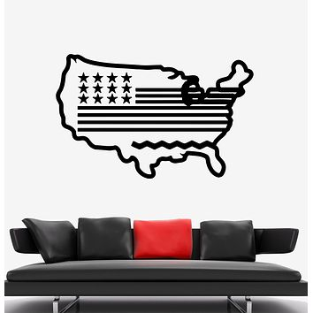 Wall Decal America USA Map Flag Nation Country Vinyl Sticker (ed1592)