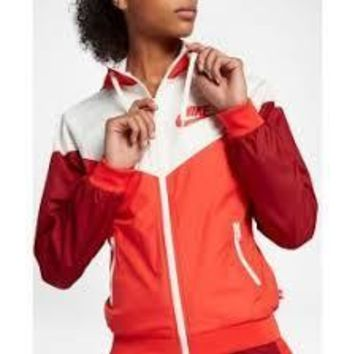 KUYOU Nike Women's Windrunner (Off White/Rush Red)