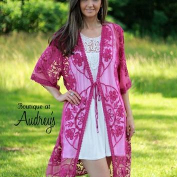 Entro Fuchsia Lace Kimono with Front Tie - Boutique At Audrey's