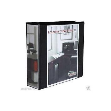 "Office Impressions Economy D-Ring View Binder, 3"" Capacity, Black"