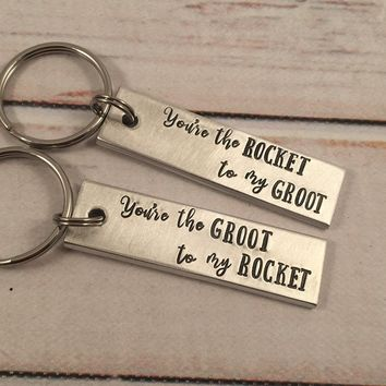 You're the Rocket to my Groot / You're the Groot to my Rocket - Guardians of the Galaxy Inspired Keychains