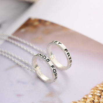 Letter Engraved Best Friends Forever Circle Pendant Necklace Eight Diagrams Tai Chi BFF Necklace Gift Big Sister Little Sister