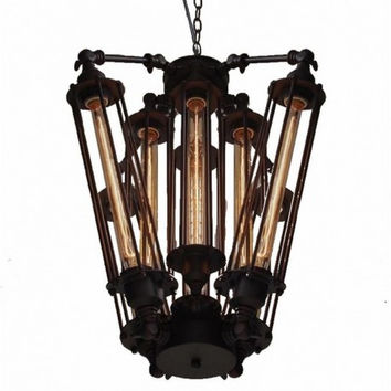 8 lights countryside vintage industrial PUNK black edison chandelier pendant lamp light
