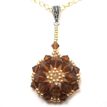 Beaded Pendant Swarovski Crystal Smoked Topaz
