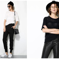 short sleeve sweater in white,black,sheer,casual,unique,high fashion,chic,for summer,spring,autumn.--E0228