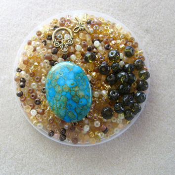 Blue Mosaic Turquoise Oval Pendant, Olive Glass Beads, Glass Seed Beads, DIY Jewelry Kit, Seed Bead Kit, Jewelry Making, Craft Supplies