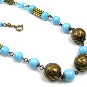 Celluloid Necklace, Blue Robins Egg, 1920s French Art Deco, Vintage Jewelry, SALE