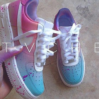 Boys size 6 (Women's size 7.5) Custom Air Force One Mids - Pastel Pink and Blue gradient with lavender paint splatter.