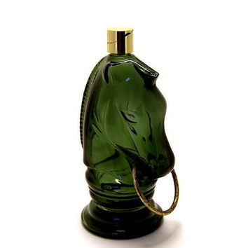 Vintage Horse Bottle Green Glass Avon Men's Cologne