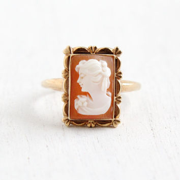 Vintage 10k Yellow Gold Cameo Ring- Size 8 1/2 1930s 1940 Art Deco Carved Shell Fine Jewelry