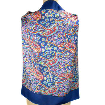 1950s Liberty of London Silk Paisley Scarf - Mad Men - Square - Head Neck Scarf