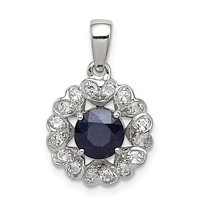 Sterling Silver Dark Blue Sapphire & White Topaz Hearts Halo Pendant