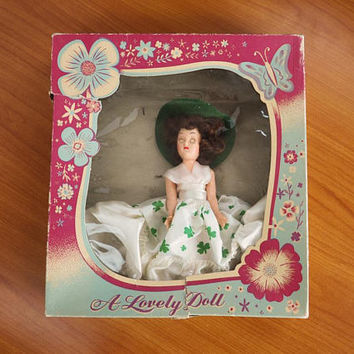 Vintage Travel Doll Irish Girl, A Lovely Doll #105 Original Box