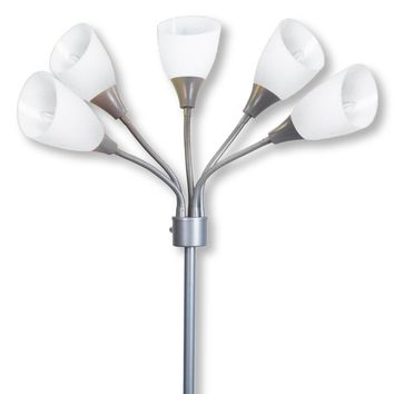 Light Accents Medusa Grey Floor Lamp with White Acrylic Shades (White)