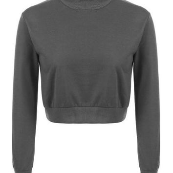Long Sleeve Crop Top Sweatshirt