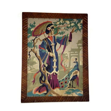 Vintage Paint by Number, Asian Theme, Woman with Parasol, Cherry Peacock, Garden, Mid Century Art, Wood Frame, Home Decor