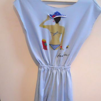 Woman's Hawaiian Romper, Vintage 1986 Blue Playsuit, Beach Cover Up , Size Small