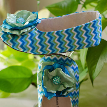 Baby Shoes, Teal Zigzag Flats for Summer