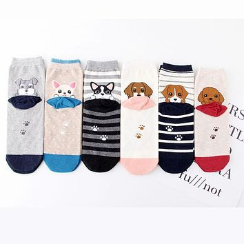 Cute Women Pet Dog Cartoon Short Socks Funky Female Poodle Beagle Bulldog Schnauzer Corgi Pomeranian Puppy Animal Cotton Sock