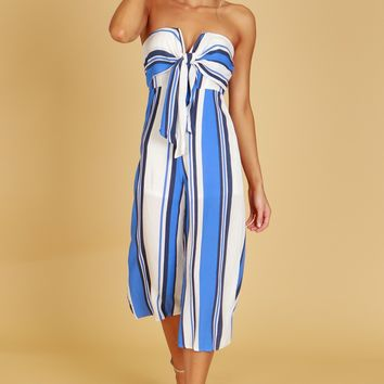 Strapless Striped Jumpsuit Blue