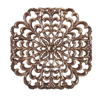 Large Elegant Wood Carving Decorative Wall Art Panel- Gilded / Gold | Free Shipping