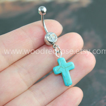 Turquoise Cross Belly Button Rings,Cross belly button jewelry,Cross  Navel jewelry,friendship belly rings, Dangle Belly Ring