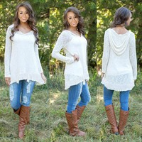Fashion Womens Loose Pullover Hooded Lace Long Sleeve Cotton Tops Shirt