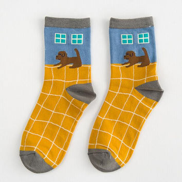 Dog Print Socks for Women Autumn Winter Gift-10