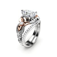 1.5CT Pear Diamond Engagement Ring Set 14K Two Tone Gold Floral Rings Natural Diamond Ring with Matching Diamond Band