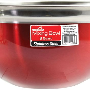 Red Stainless Steel Mixing Bowl - 8 Qt.