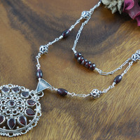 Sterling Silver Garnet Gemstone Double Row Necklace and Pendant