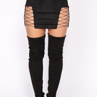 Drinks Are On Me Lace Up Skirt - Black