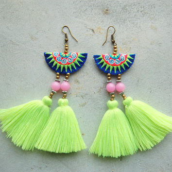 Neon Green Beach Tassel Earrings with Hmong Embroidery