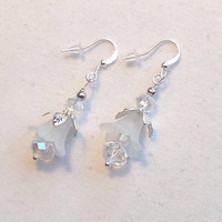 Handmade Earrings Frosted Flower Blooms Earrings - Crystal Beaded Earrings Dangle Earrings -  - Bride Bridemaids Bridal Earrings