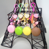 Macaron purse clips keychain, paris inspired bag charms, Eiffel Tower, french pastry purse clip, french gift, bakers gift idea