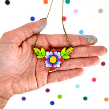 hand painted laser wood cut dainty flower necklace / 18 in brass chain / blue or purple