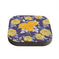 "Anneline Sophia ""Summer Rose Yellow"" Purple Lavender Coasters (Set of 4)"