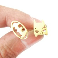 Batman Logo Symbol and Bat Mask Shaped Stud Earrings in Gold | Allergy Free | redditgifts